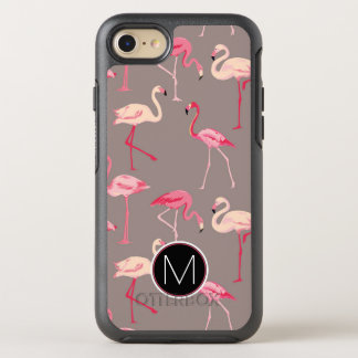 Retro Flamingos   Monogram OtterBox Symmetry iPhone 8/7 Case