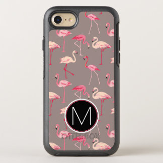 Retro Flamingos | Monogram OtterBox Symmetry iPhone 8/7 Case