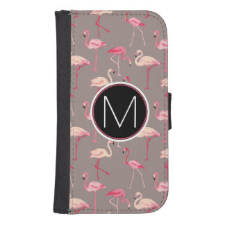 Retro Flamingos | Monogram Samsung S4 Wallet Case