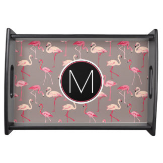 Retro Flamingos | Monogram Serving Tray
