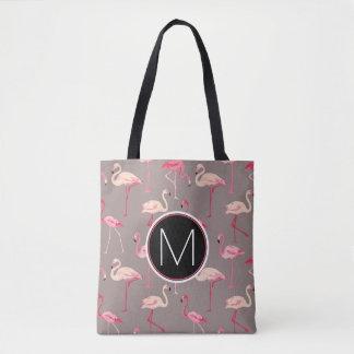 Retro Flamingos | Monogram Tote Bag