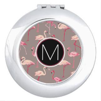 Retro Flamingos   Monogram Travel Mirror