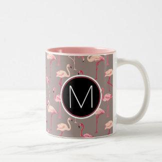 Retro Flamingos | Monogram Two-Tone Coffee Mug