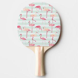 Retro Flamingos On Mint Stripes