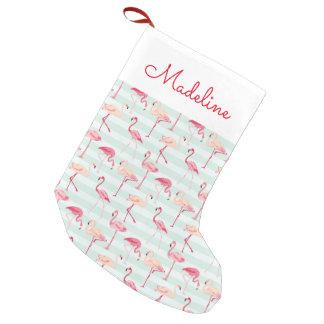 Retro Flamingos On Mint Stripes   Add Your Name Small Christmas Stocking