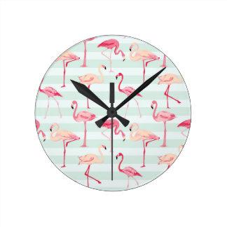 Retro Flamingos On Mint Stripes Clock