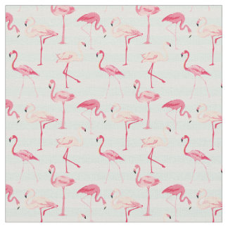 Retro Flamingos On Mint Stripes Fabric