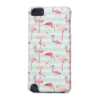 Retro Flamingos On Mint Stripes iPod Touch (5th Generation) Cover