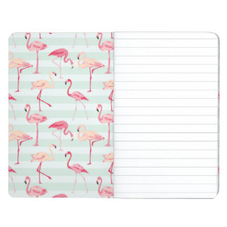 Retro Flamingos On Mint Stripes Journals