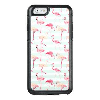 Retro Flamingos On Mint Stripes OtterBox iPhone 6/6s Case