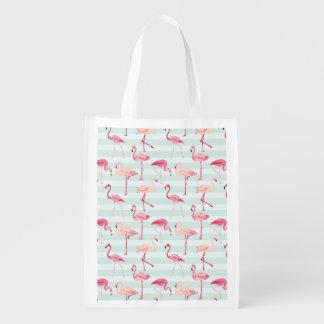 Retro Flamingos On Mint Stripes Reusable Grocery Bag