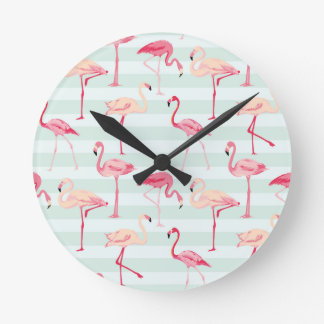 Retro Flamingos On Mint Stripes Round Clock