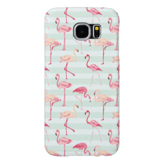 Retro Flamingos On Mint Stripes Samsung Galaxy S6 Cases
