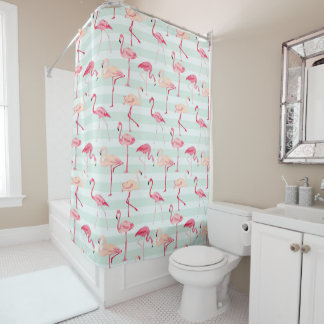 Retro Flamingos On Mint Stripes Shower Curtain