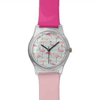 Retro Flamingos On Mint Stripes Watch