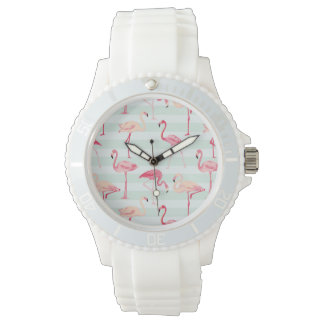 Retro Flamingos On Mint Stripes Watch