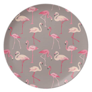 Retro Flamingos Plate
