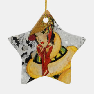 Retro Flapper Christmas Greeting Christmas Ornament