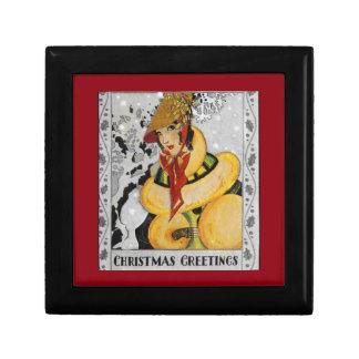 Retro Flapper Christmas Greeting Gift Box