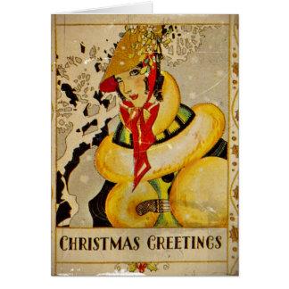 Retro Flapper Christmas Greetings Card
