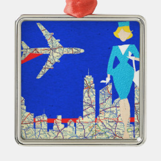 Retro Flight Attendant Christmas Ornament
