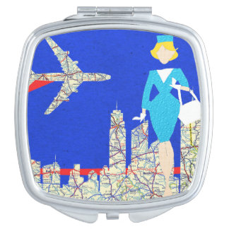 Retro Flight Attendant Compact Mirror