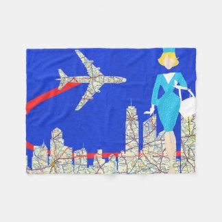 Retro Flight Attendant Fleece Blanket