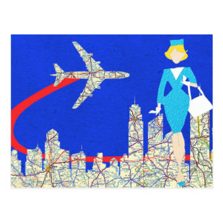 Retro Flight Attendant Postcard