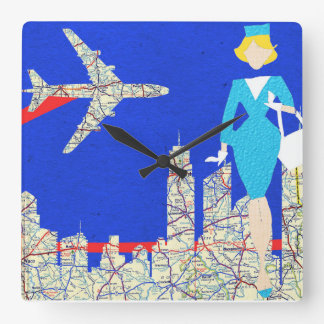 Retro Flight Attendant Wall Clock