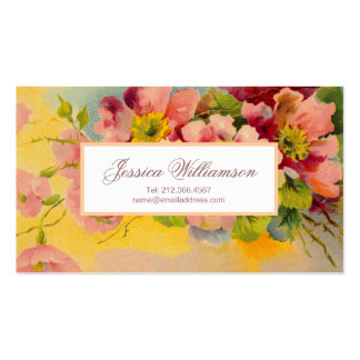 Retro Floral 1950s Primroses Design Double-Sided Standard Business Cards (Pack Of 100)