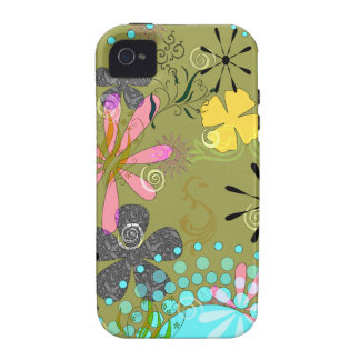 Retro Floral 1 Tough iPhone 4 Covers