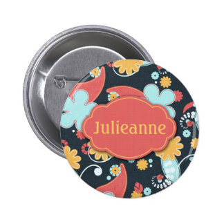 Retro Floral - Add a name - 6 Cm Round Badge