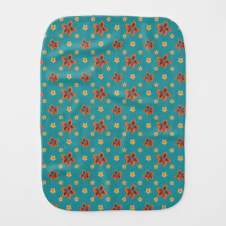 Retro Floral and Polkas on Teal Baby Burp Cloth