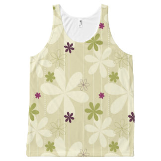 Retro Floral Background All-Over Print Tank Top