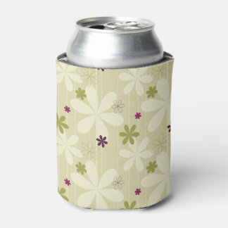 Retro Floral Background Can Cooler