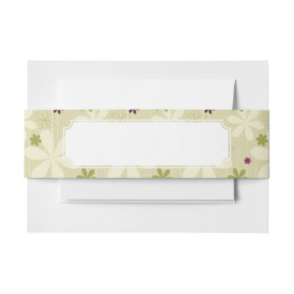 Retro Floral Background Invitation Belly Band
