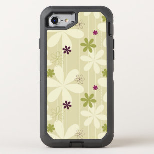 Retro Floral Background OtterBox Defender iPhone 8/7 Case