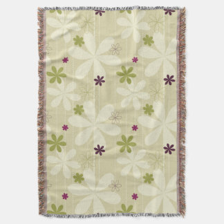 Retro Floral Background Throw Blanket