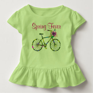 Retro Floral Bicycle Spring Fever Toddler T-Shirt