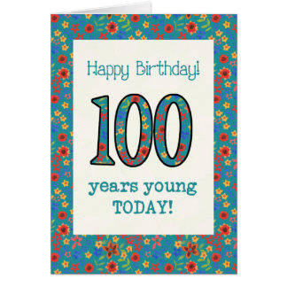 Retro Floral Birthday Card 100 Years Young