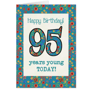 Retro Floral Birthday Card 95 Years Young