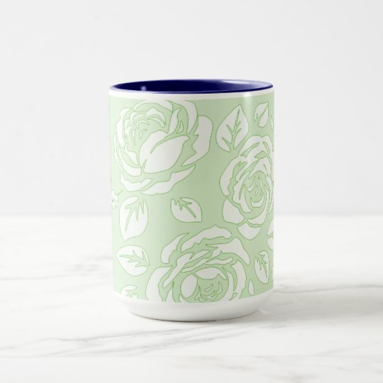 Retro-Floral(c) Pale Green_NAVY-Inside-Unisex Mug
