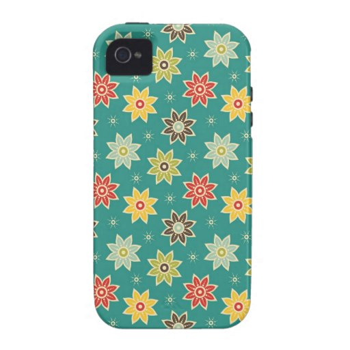 Retro Floral Vibe iPhone 4 Cases