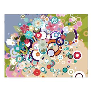 Retro Floral Circles & Splats Spring Pastels Postcard