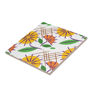 Retro Floral Contemporary Pattern Yellow + Orange Small Square Tile