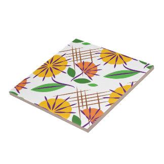 Retro Floral Contemporary Pattern Yellow + Orange Tile
