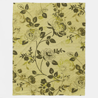 Retro-Floral-Dark-Cream-_S-M-L Fleece Blanket
