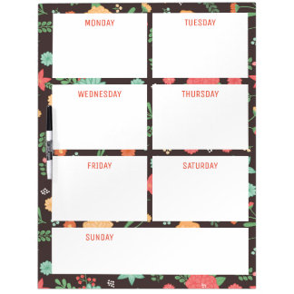Retro Floral Days of the Week Dry Erase Board