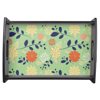 Retro Floral Design Serving Tray