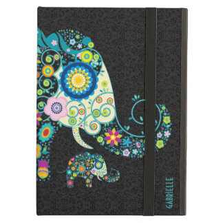 Retro Floral Elephant Black Damasks Monogram 2 iPad Air Cover